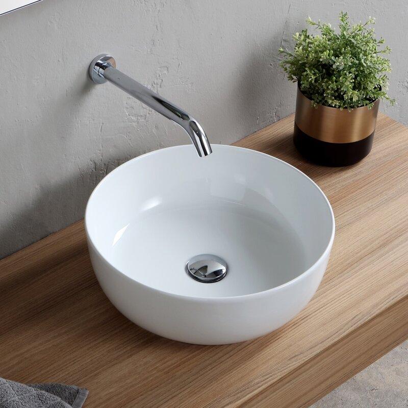 Scarabeo By Nameeks Round Ceramic Vessel Bathroom Sink Wayfair