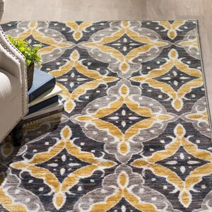 Buy Fairborn Floral Charcoal/Gold Area Rug!