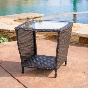Caro Outdoor Wicker Side Table With Glass Top by Mercury Row