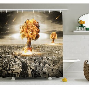 Brunelle Yellow Gray Nuclear Bomb Single Shower Curtain