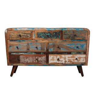 Sykesville Reclaimed Mango Wood 7 Drawer Double Dresser