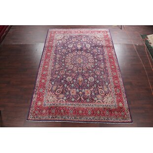 One Of A Kind Ludlow Medallion Fl Sarouk Vintage Persian Hand Knotted 9 5 X 13 Wool Navy Blue Red Area Rug