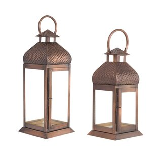 Comparison 2 Piece Metal/Glass Lantern Set By World Menagerie