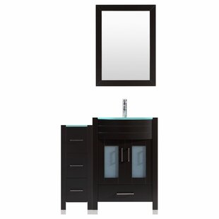 Peterman 48 Single Bathroom Vanity Set with Wood Frame Mirror by Orren Ellis