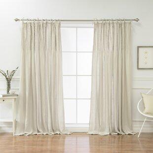 Verdon Belgian Flax Linen Tie Top Pinch Pleat Solid Semi Sheer Tab Top  Single Curtain Panel