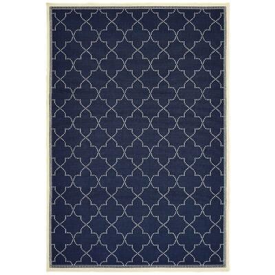 Charlton Home Salerno Geometric Navy Indoor Outdoor Area Rug Reviews Wayfair
