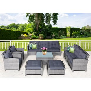 Dowdy 11 Piece Rattan Sectional Seating Group with Cushions