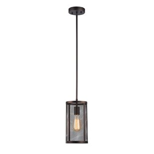 Williston Forge Bouffard Metal Mesh 1-Light Cylinder Pendant