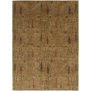 One-of-a-Kind Denver Hand-Knotted 10'3 x 13'10 Wool Yellow/Red Area Rug ByIsabelline
