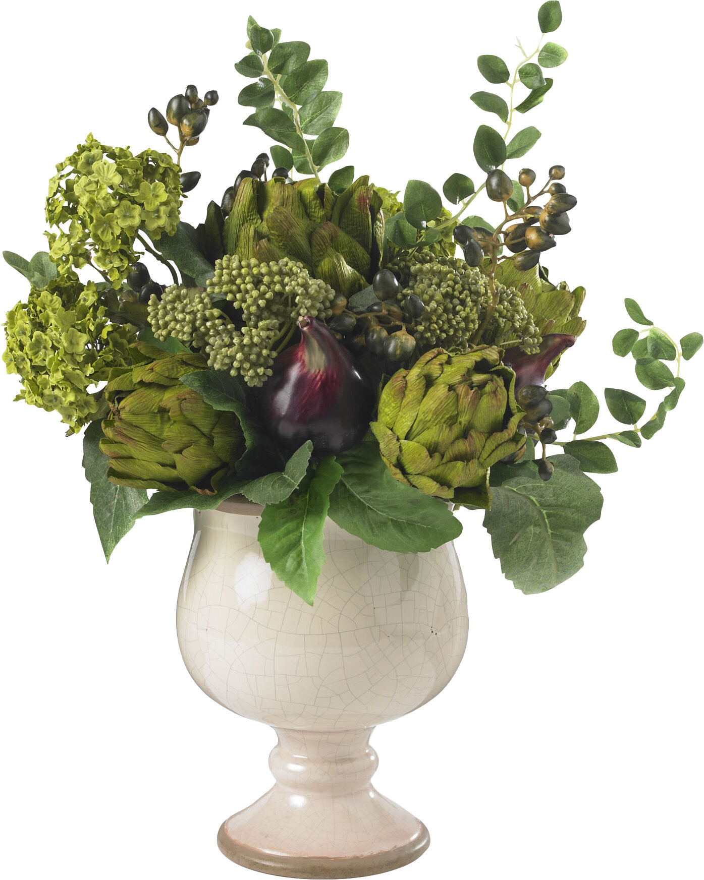 Alcott Hill Artichoke And Hydrangea Silk Centerpiece In