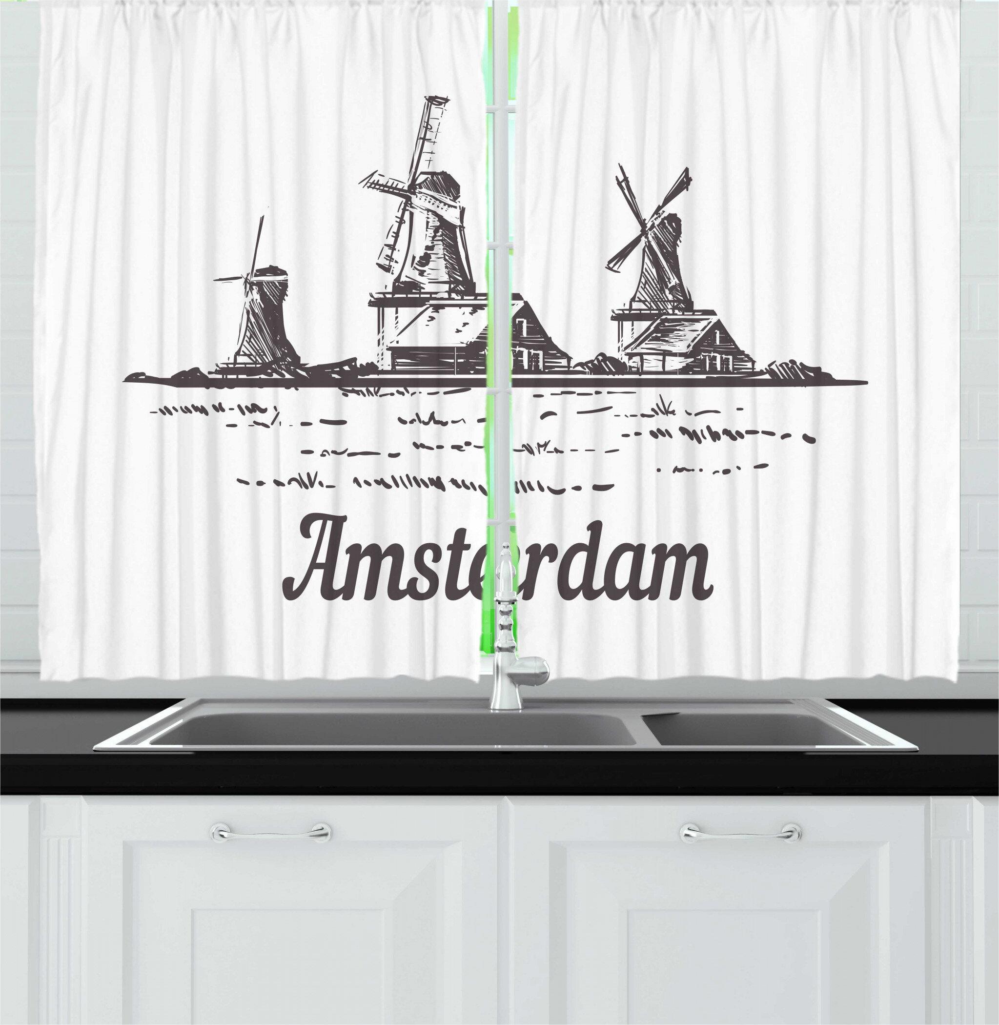 East Urban Home 2 Piece Amsterdam Sketch Of Zaanse Schans Dutch Landscape Windmills Village With Houses Kitchen Curtain Set Wayfair