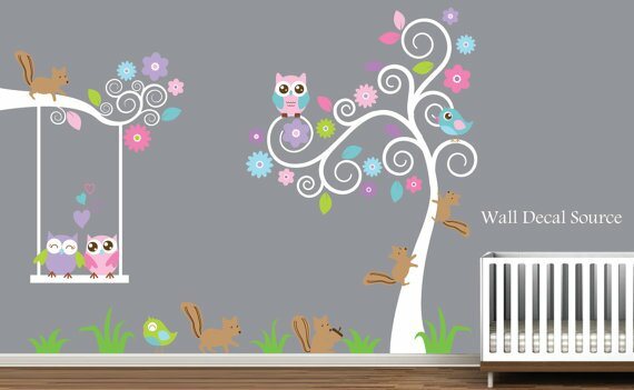 Tree Squirrels Owls and Birds Nursery Wall Decal  sc 1 st  Wayfair : tree nursery wall decals - www.pureclipart.com