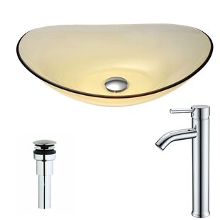 ANZZI Mesto Glass Oval Vessel Bathroom Sink with Faucet