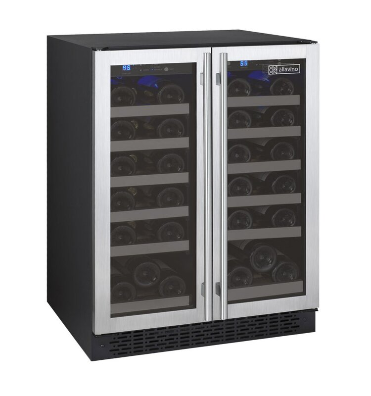 Allavino 36 Bottle FlexCount Series Dual Zone Convertible Wine Cooler  Color: Black/Stainless Steel