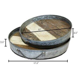 Buckhurst Round Barn Wood 2 Piece Accent Tray Set