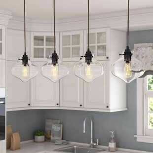 Laurel Foundry Modern Farmhouse Betsy 4-Light Glass Shade Kitchen Island Pendant