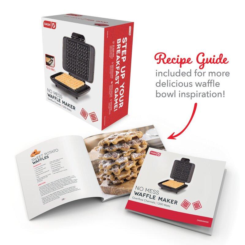 DASH No-Drip Belgian Waffle Maker Iron 1200W Easy Clean Mess Free Non-Stick