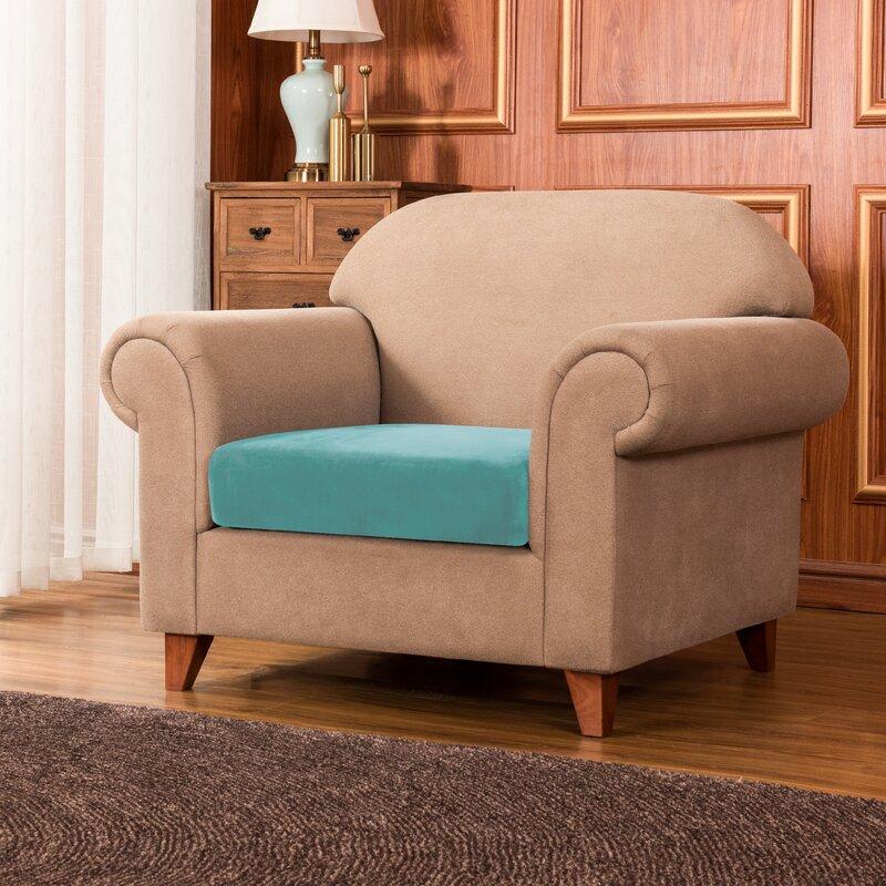 Red Barrel Studio Bronica Velvet Plush Soft Stretchy Box Cushion Armchair Slipcover Wayfair