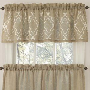 Carlyle Stitched Quatrafoil Kitchen Curtain Valance