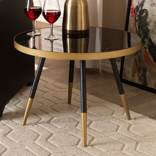 Conder Round Glossy Marble and Metal Coffee Table
