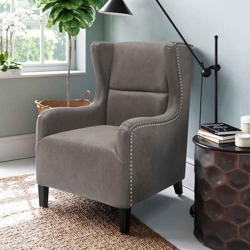 Alcott Hill Almaden 27 6 W Faux Leather Wingback Chair Reviews Wayfair Ca