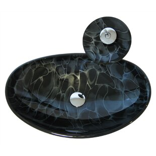 Novatto Tartaruga Glass Oval Vessel Bathroom Sink with Faucet