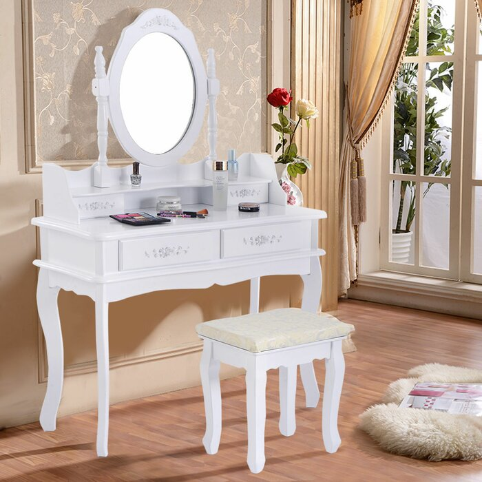 the latest fc12a 458a7 Costway White Vanity Makeup Dressing Table Set Mirror Jewellery Storage  W/Stool &4 Drawer