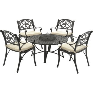 SunTime Outdoor Living Oregon 5 Piece Dining Set with Cushion and Firepit