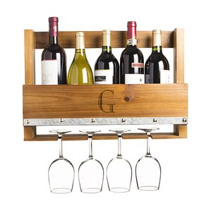 Personalized Rustic 5 Bottle Wall Mounted Wine Bottle Rack by Cathys Concepts