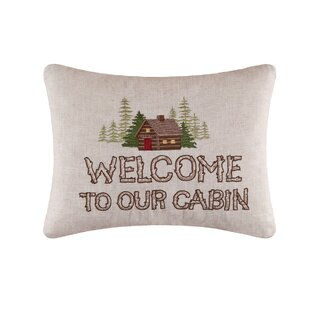 Welcome to the Cabin Embroidered Pillow