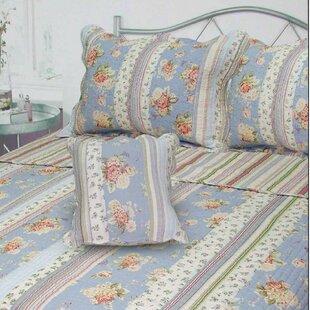 J&J Bedding Berkely Floral Stripe Quilt