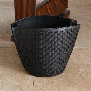 Global Views Leather Waste Basket