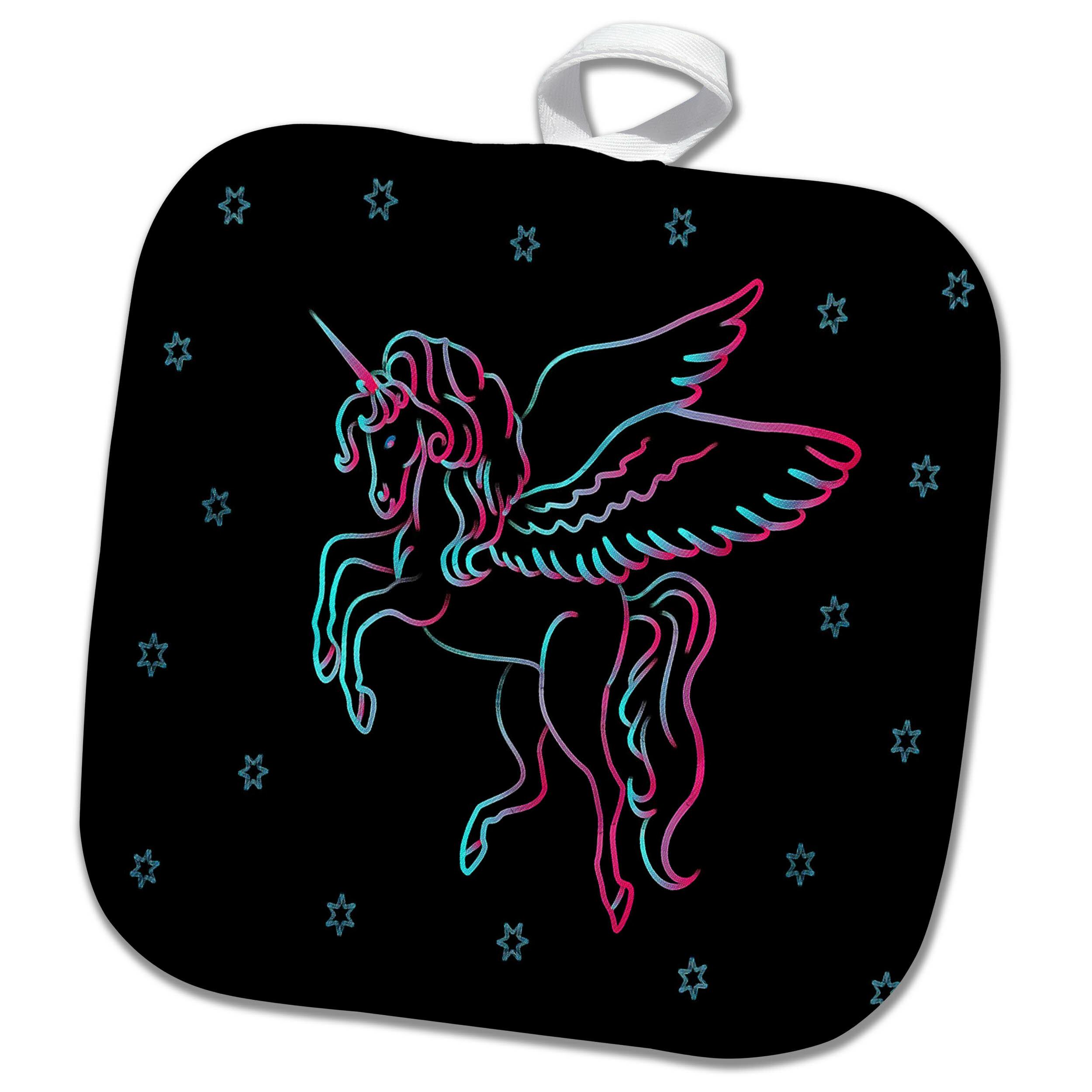 3drose Image Of Neon Water Aqua And Fuchsia Unicorn N Stars Potholder Wayfair