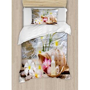 Spa Trio Bubble Bath with Cream and Liquid Soap with Cute Flowers and Sea Shell Duvet Set by Ambesonne