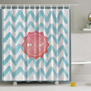 His and Her Bathroom on Chevron Print Single Shower Curtain