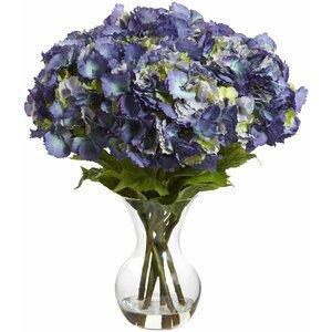 Large Hydrangea with Vase Silk Flower Arrangement