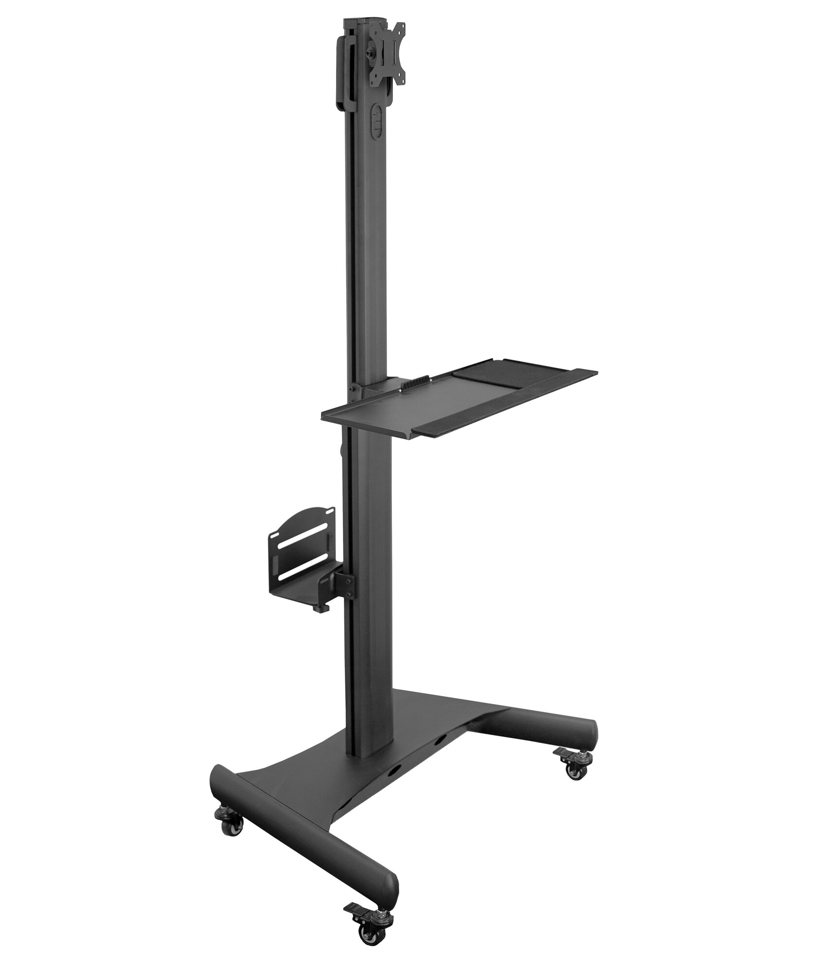 Symple Stuff Hull Adjustable Mobile Pc Workstation With Single Monitor Mount