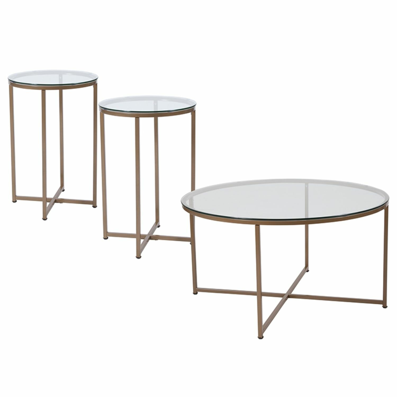 3 Piece Glass Top Coffee Table Sets.Gaener 3 Piece Coffee Table Set