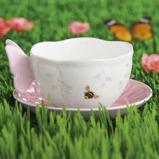 Butterfly Meadow 8 oz. Teacup and Saucer (Set of 2)