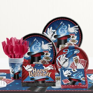 81 Piece Magic Party Birthday Paper/Plastic Tableware Set