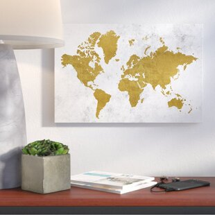 Gold world map wayfair golden world map graphic art print on wrapped canvas sciox Gallery