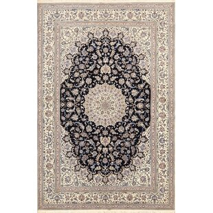 One-of-a-Kind Monteiro Nain Hand-Knotted 6'10 x 10'4 Silk Beige/Black Area Rug Isabelline