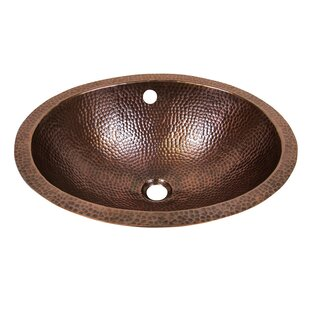 Top Metal Oval Undermount Bathroom Sink with Overflow ByThe Copper Factory
