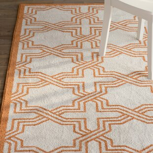 McArthur Power Loomed Ivory/Orange Indoor/Outdoor Area Rug