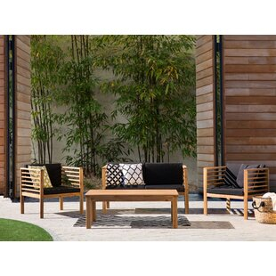 Pacific 4 Piece Sofa Seating Group with Cushions