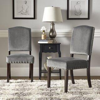 Ali Velvet Nailhead Upholstered Dining Chair (Set of 2) by Lark Manor SKU:AE330736 Information