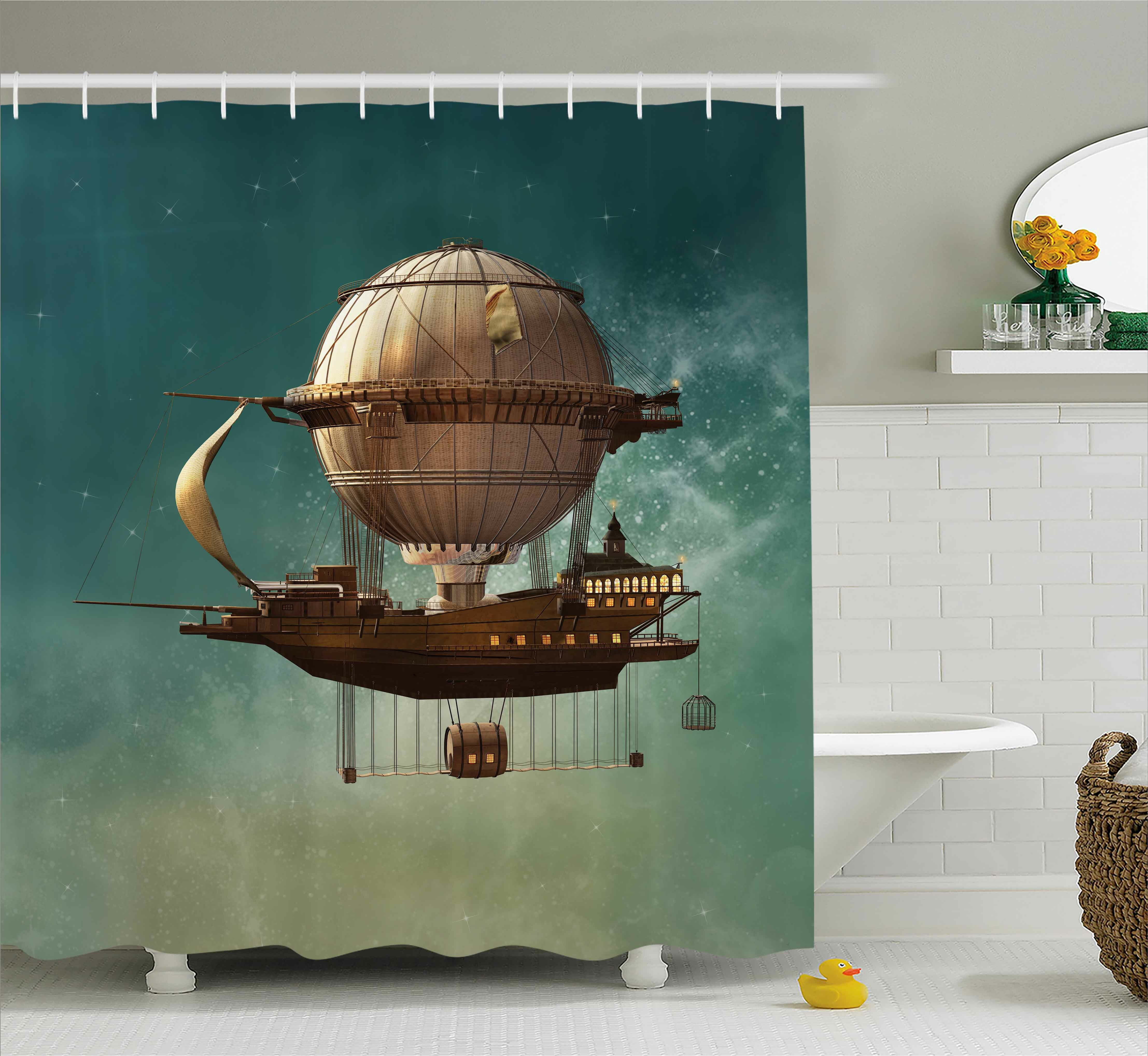 Ebern Designs Maureen Fantasy Surreal Sky Scenery With Steampunk Airship Fairy Sci Fi Stardust Space Image Shower Curtain