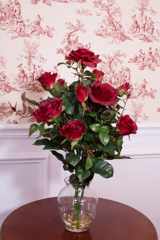 Charlton Home Silk Rose Floral Arrangements In Vase Reviews Wayfair