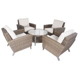 St. Regis 5 Piece Rattan Seating Group with Cushions by Rosecliff Heights
