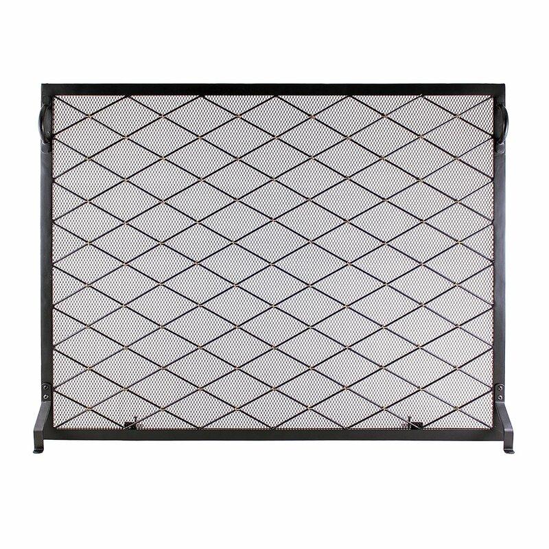 Harlequin Flat Single Panel Iron Fireplace Screen